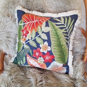 🌿 Large Boho Plant Embroidered Throw Pillow